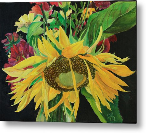 Sunflower Metal Print featuring the painting Tender Mercies by Jane Autry