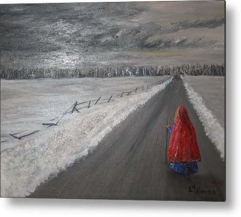 Landscape Metal Print featuring the painting The Road That Must Be Traveled by L A Raven