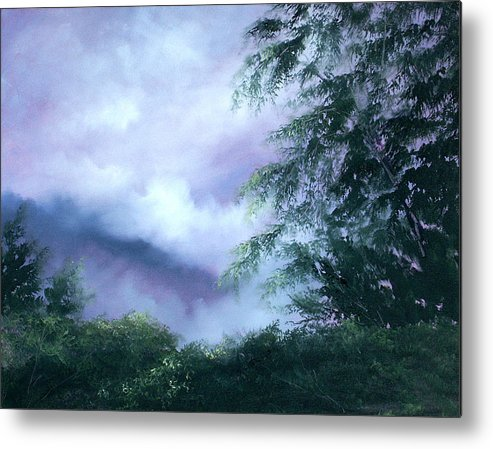 Fog Metal Print featuring the painting Touch Of Blue by Sally Seago