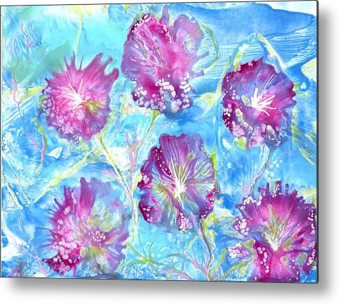Encaustic Metal Print featuring the painting Tribute With Flora by Heather Hennick