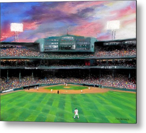 Baseball Metal Print featuring the painting Twilight At Fenway Park by Jack Skinner