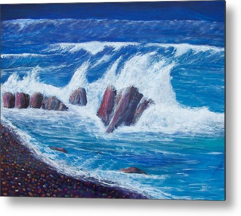 Seascape Metal Print featuring the painting Wave Crashing by Tony Rodriguez