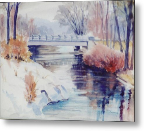 River Metal Print featuring the painting Weber River Bridge by JoAnne Corpany