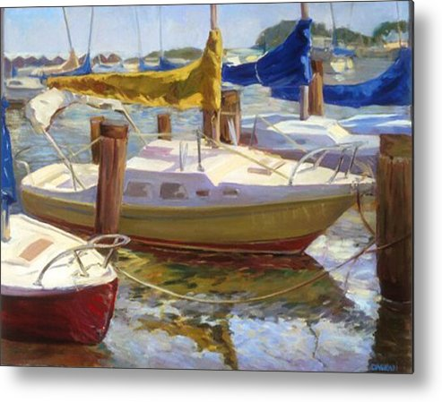 Plein Air Metal Print featuring the painting Yellow Sails by Joan DaGradi
