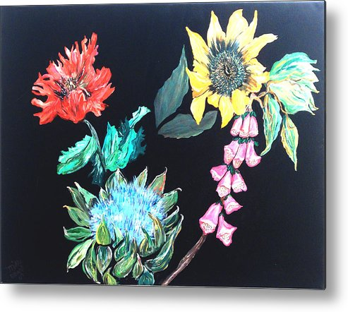 Flowers Metal Print featuring the painting Coastal Floral by Mikki Alhart