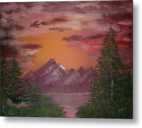 Loriginal Oil Metal Print featuring the painting Purple Mountain by Mikki Alhart