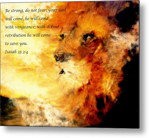 Lion Of Judah Metal Print featuring the painting Lion Of Judah Courage by Amanda Dinan