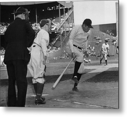 1940s Metal Print featuring the photograph Major League Baseball. From Left Former by Everett
