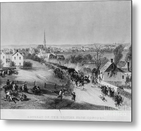 Illustration Metal Print featuring the photograph Retreat Of British From Concord by Photo Researchers