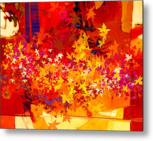 Abstract Metal Print featuring the painting Red Autumn by Dale Witherow