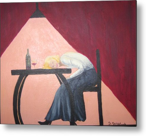 Figure Metal Print featuring the painting Drinking With Wanda by Sheryl Sutherland