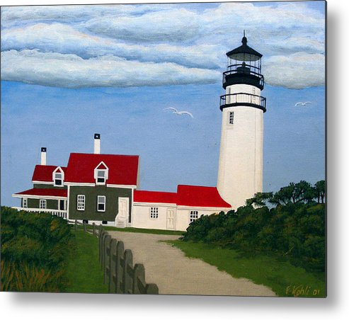 Lighthouse Paintings Metal Print featuring the painting Highland Lighthouse by Frederic Kohli