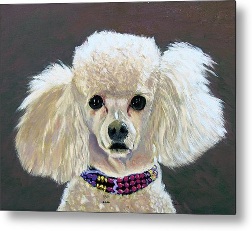 Dog Portrait Metal Print featuring the painting Pebbles by Stan Hamilton