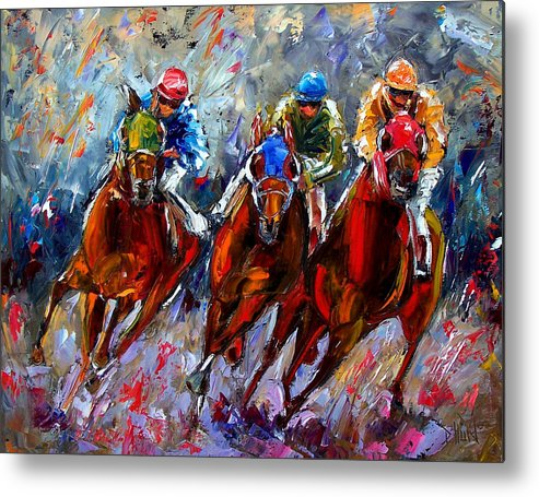 Horse Race Metal Print featuring the painting The Turn by Debra Hurd