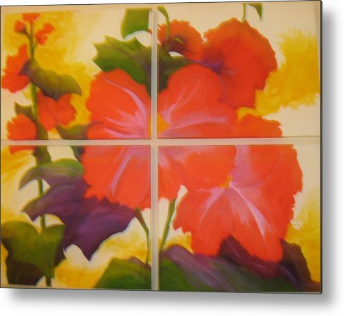 Flower On Four Canvasses Metal Print featuring the painting To Brighten Your Day by Sheryl Sutherland