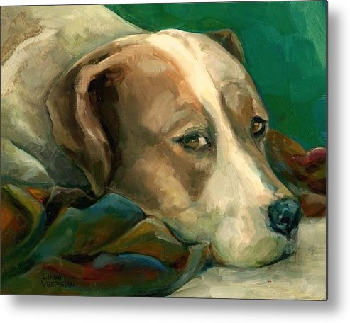 Dog Metal Print featuring the painting A Watchful Eye by Linda Vespasian