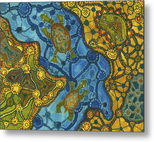 Australia Metal Print featuring the painting Aboriginal Turtles by Julia Collard
