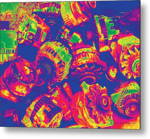 Abstract Metal Print featuring the photograph Abstract Multi-colors Metal Junk by Mike Loudermilk