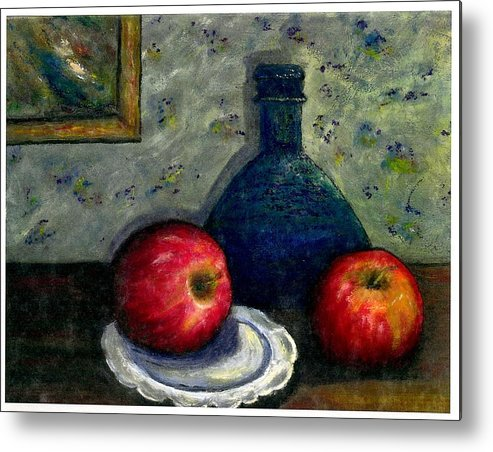 Still Life Metal Print featuring the painting Apples And Bottles by Gail Kirtz