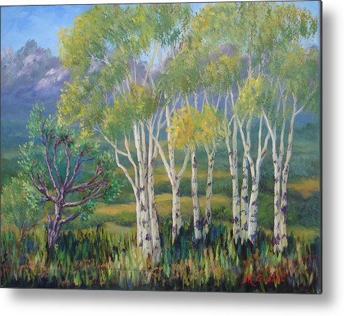 Landscape Metal Print featuring the painting Aspens In The Rockies by Maxine Ouellet