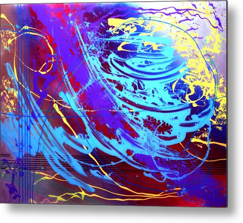 Abstract Metal Print featuring the painting Blue Reverie by Mordecai Colodner