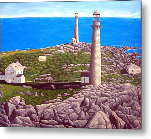 Art Metal Print featuring the painting Cape Ann Twin Towers by Frederic Kohli