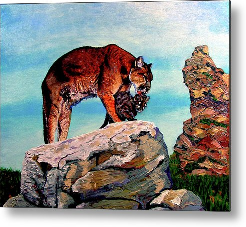 Cougar Metal Print featuring the painting Cougars Mother And Cub by Stan Hamilton