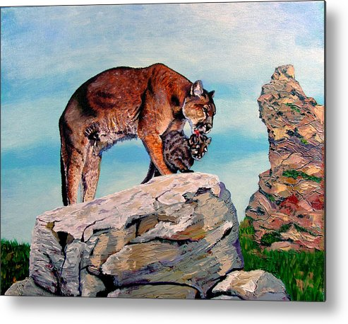 Original Oil On Canvas Metal Print featuring the painting Cougars by Stan Hamilton