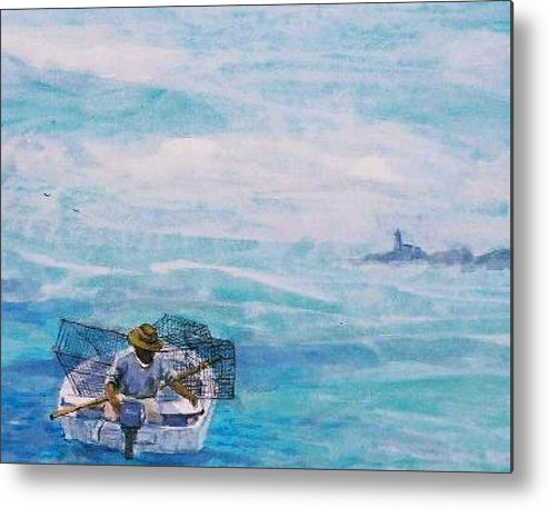 Crab Traps Metal Print featuring the painting Crab Traps by Ruth Mabee