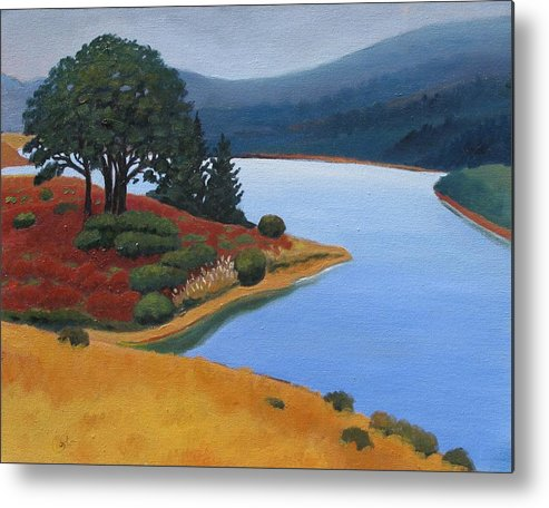 Reservior Metal Print featuring the painting Crystal Springs by Gary Coleman