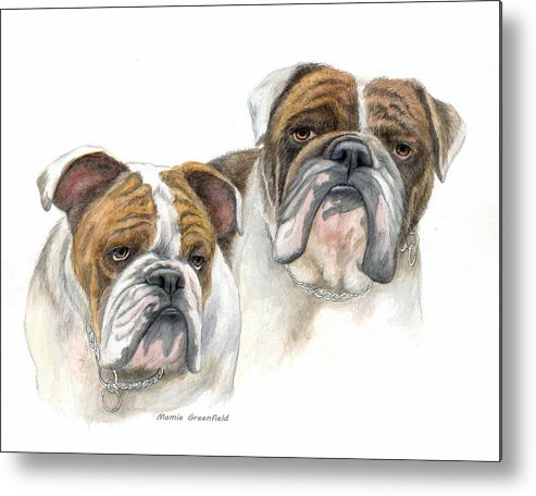 Portraits Metal Print featuring the painting daBullies by Mamie Greenfield