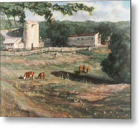 Cows Metal Print featuring the painting Dairy Farm On Route 34 by Robert Tutsky