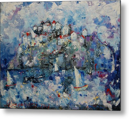 Metal Print featuring the painting Distant Town by Sari Haapaniemi