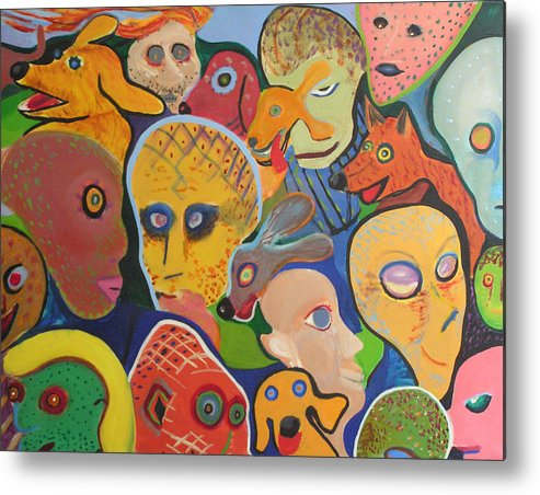 Oil Metal Print featuring the painting Dogs-aliens-people- And Other Strangers by Mark Sharer