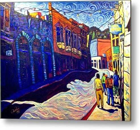 Downtown Metal Print featuring the painting Downtown Bisbee by Steve Lawton