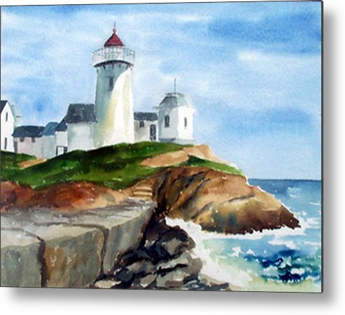 Landscape Metal Print featuring the print Eastern Point Light by Anne Trotter Hodge