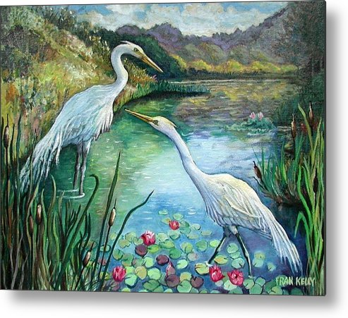 Original Metal Print featuring the painting Egrets by Fran Kelly