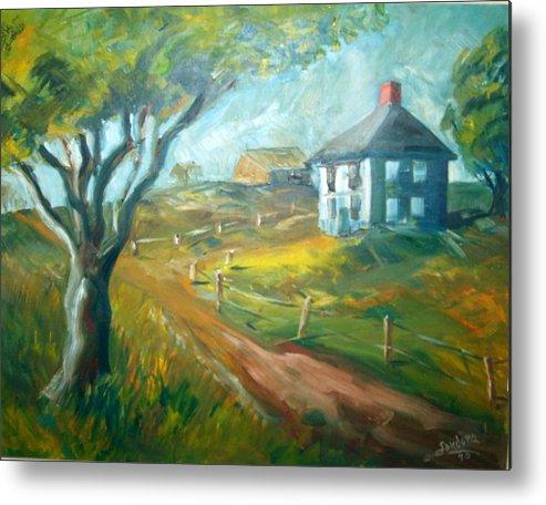Landscape Farm House Metal Print featuring the painting Farm In Gorham by Joseph Sandora Jr