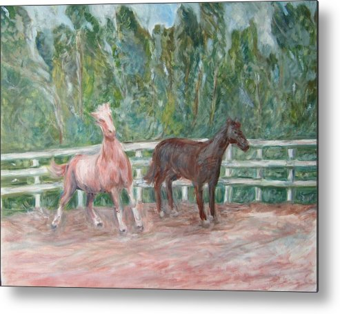 Horse Landscape Animals Metal Print featuring the painting Fenced In by Joseph Sandora Jr