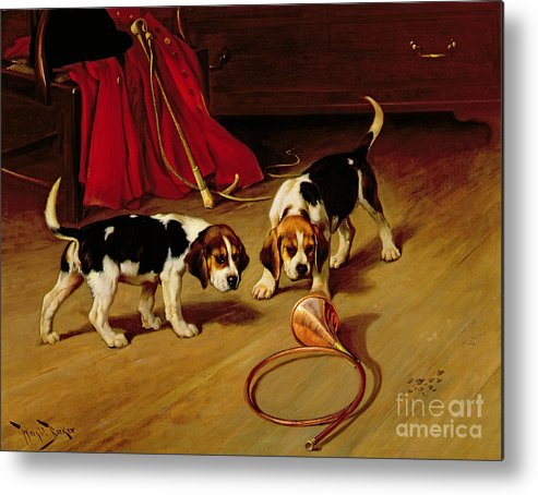 Beagle; Hound; Crop; Whip; Horn; Puppies; Hunt Metal Print featuring the painting First Introduction by Wright Barker