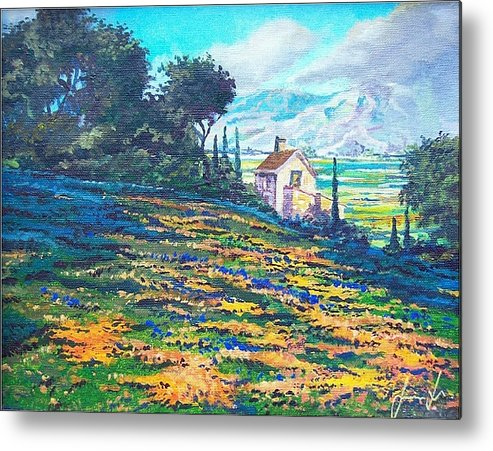 Flower Hill Metal Print featuring the painting Flower Hill by Sinisa Saratlic