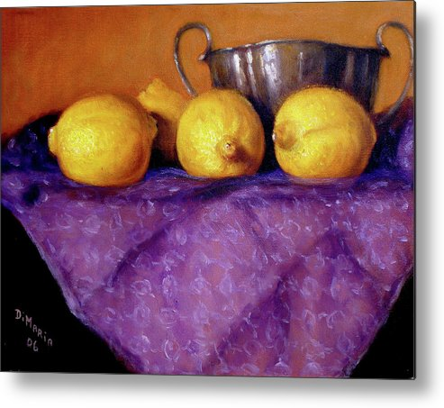 Realism Metal Print featuring the painting Four Lemons by Donelli DiMaria