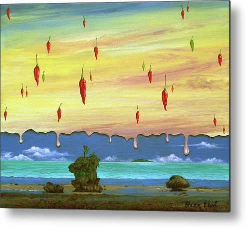Surreal Painting Metal Print featuring the painting Global Meltdown by Sharon Ebert