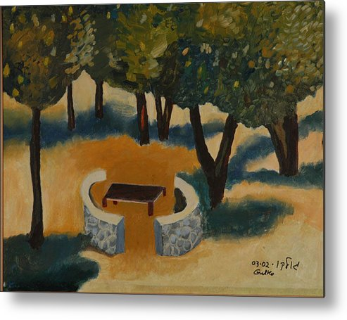 Picnic Countryside Metal Print featuring the painting Golan Picnic Area  by Harris Gulko