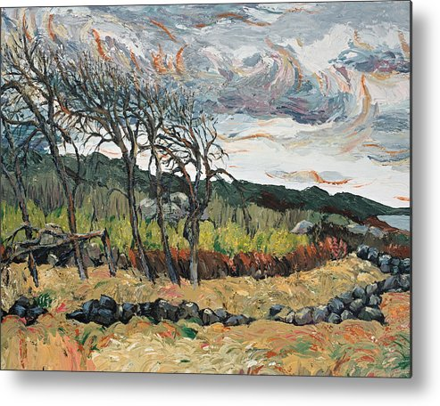 Landscape Metal Print featuring the painting Howling Winds Sweden by Art Nomad Sandra Hansen