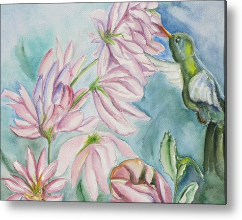 Nature Metal Print featuring the painting Humming Bird by Kathy Mitchell