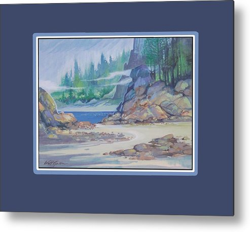 Landscape Seascape Sand And Dunes Forest And Ocean Cove Metal Print featuring the painting Lemonpepper Cove by Walt Green