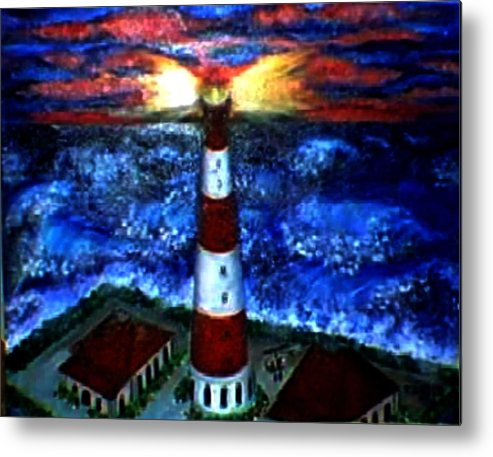 Lighthouse Metal Print featuring the print Light In The Storm by Tanna Lee M Wells