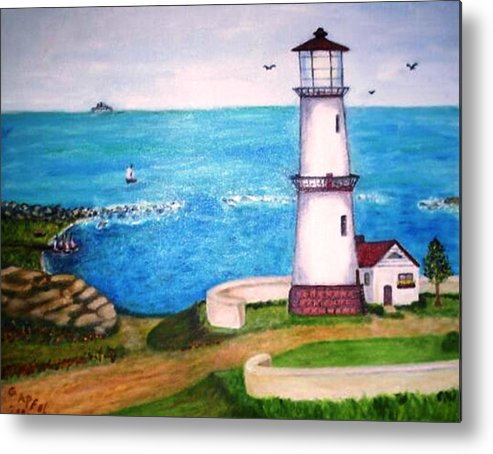 Lighthouse Seascape Sailboats Metal Print featuring the painting Lighthouse Glory by Gloria M Apfel