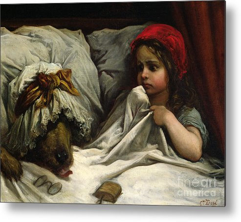 Wolf; Disguise; Child; Girl; Fairy Tale; Story; Glasses; Bed; Nightcap; Fear Metal Print featuring the painting Little Red Riding Hood by Gustave Dore
